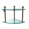 Allied Brass MA-3-BBR Mambo Collection 2 Tier Corner Glass Shelf, Brushed Bronze