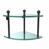 Allied Brass MA-3-ORB Mambo Collection 2 Tier Corner Glass Shelf, Oil Rubbed Bronze