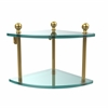 Allied Brass MA-3-UNL Mambo Collection 2 Tier Corner Glass Shelf, Unlacquered Brass
