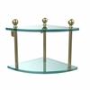 Allied Brass MA-3-SBR Mambo Collection 2 Tier Corner Glass Shelf, Satin Brass