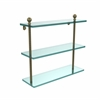 Allied Brass MA-5/16-ABR Mambo Collection 16 Inch Triple Tiered Glass Shelf, Antique Brass