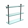 Allied Brass MA-5/16-BKM Mambo Collection 16 Inch Triple Tiered Glass Shelf, Matte Black