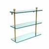 Allied Brass MA-5/16-UNL Mambo Collection 16 Inch Triple Tiered Glass Shelf, Unlacquered Brass