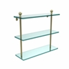 Allied Brass MA-5/16-SBR Mambo Collection 16 Inch Triple Tiered Glass Shelf, Satin Brass