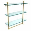 Allied Brass MA-5/16TB-UNL Mambo Collection 16 Inch Triple Tiered Glass Shelf with Integrated Towel Bar, Unlacquered Brass