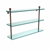 Allied Brass MA-5/22-ABZ Mambo Collection 22 Inch Triple Tiered Glass Shelf, Antique Bronze