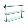 Allied Brass MA-5/22-ORB Mambo Collection 22 Inch Triple Tiered Glass Shelf, Oil Rubbed Bronze