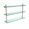 Allied Brass MA-5/22-UNL Mambo Collection 22 Inch Triple Tiered Glass Shelf, Unlacquered Brass