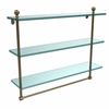 Allied Brass MA-5/22TB-BBR Mambo Collection 22 Inch Triple Tiered Glass Shelf with Integrated Towel Bar, Brushed Bronze