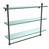 Allied Brass MA-5/22TB-ORB Mambo Collection 22 Inch Triple Tiered Glass Shelf with Integrated Towel Bar, Oil Rubbed Bronze