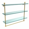 Allied Brass MA-5/22TB-UNL Mambo Collection 22 Inch Triple Tiered Glass Shelf with Integrated Towel Bar, Unlacquered Brass