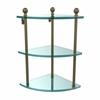 Allied Brass MA-6-ABR Mambo Collection 3 Tier Corner Glass Shelf, Antique Brass