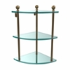 Allied Brass MA-6-BBR Mambo Collection 3 Tier Corner Glass Shelf, Brushed Bronze