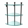 Allied Brass MA-6-ORB Mambo Collection 3 Tier Corner Glass Shelf, Oil Rubbed Bronze