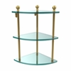Allied Brass MA-6-UNL Mambo Collection 3 Tier Corner Glass Shelf, Unlacquered Brass