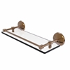 Allied Brass MC-1/16-GAL-BBR Monte Carlo 16 Inch Tempered Glass Shelf with Gallery Rail, Brushed Bronze