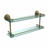 Allied Brass MC-2/22-GAL-ABR Monte Carlo 22 Inch Double Glass Shelf with Gallery Rail, Antique Brass