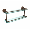 MC-2/22-GAL-ABZ Monte Carlo 22 Inch Double Glass Shelf with Gallery Rail, Antique Bronze
