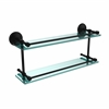 Allied Brass MC-2/22-GAL-BKM Monte Carlo 22 Inch Double Glass Shelf with Gallery Rail, Matte Black
