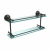 MC-2/22-GAL-ORB Monte Carlo 22 Inch Double Glass Shelf with Gallery Rail, Oil Rubbed Bronze