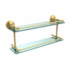 Allied Brass MC-2/22-GAL-UNL Monte Carlo 22 Inch Double Glass Shelf with Gallery Rail, Unlacquered Brass