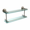 Allied Brass MC-2/22-GAL-PEW Monte Carlo 22 Inch Double Glass Shelf with Gallery Rail, Antique Pewter