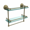Allied Brass MC-2TB/16-GAL-ABR Monte Carlo Collection 16 Inch Gallery Double Glass Shelf with Towel Bar, Antique Brass