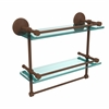 MC-2TB/16-GAL-ABZ Monte Carlo Collection 16 Inch Gallery Double Glass Shelf with Towel Bar, Antique Bronze