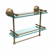 Allied Brass MC-2TB/16-GAL-BBR Monte Carlo Collection 16 Inch Gallery Double Glass Shelf with Towel Bar, Brushed Bronze