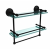 MC-2TB/16-GAL-BKM Monte Carlo Collection 16 Inch Gallery Double Glass Shelf with Towel Bar, Matte Black