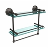 MC-2TB/16-GAL-ORB Monte Carlo Collection 16 Inch Gallery Double Glass Shelf with Towel Bar, Oil Rubbed Bronze