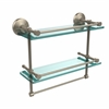 Allied Brass MC-2TB/16-GAL-PEW Monte Carlo Collection 16 Inch Gallery Double Glass Shelf with Towel Bar, Antique Pewter