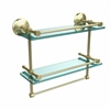 Allied Brass MC-2TB/16-GAL-SBR Monte Carlo Collection 16 Inch Gallery Double Glass Shelf with Towel Bar, Satin Brass