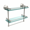 Allied Brass MC-2TB/16-GAL-SN Monte Carlo Collection 16 Inch Gallery Double Glass Shelf with Towel Bar, Satin Nickel