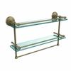 Allied Brass MC-2TB/22-GAL-ABR 22 Inch Gallery Double Glass Shelf with Towel Bar, Antique Brass