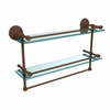 Allied Brass MC-2TB/22-GAL-ABZ 22 Inch Gallery Double Glass Shelf with Towel Bar, Antique Bronze