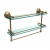 Allied Brass MC-2TB/22-GAL-BBR 22 Inch Gallery Double Glass Shelf with Towel Bar, Brushed Bronze