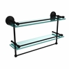 Allied Brass MC-2TB/22-GAL-BKM 22 Inch Gallery Double Glass Shelf with Towel Bar, Matte Black