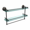 MC-2TB/22-GAL-ORB 22 Inch Gallery Double Glass Shelf with Towel Bar, Oil Rubbed Bronze