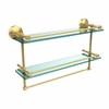 Allied Brass MC-2TB/22-GAL-PB 22 Inch Gallery Double Glass Shelf with Towel Bar, Polished Brass