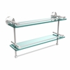 Allied Brass MC-2TB/22-GAL-PC 22 Inch Gallery Double Glass Shelf with Towel Bar, Polished Chrome