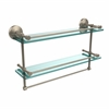 Allied Brass MC-2TB/22-GAL-PEW 22 Inch Gallery Double Glass Shelf with Towel Bar, Antique Pewter