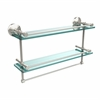 Allied Brass MC-2TB/22-GAL-PNI 22 Inch Gallery Double Glass Shelf with Towel Bar, Polished Nickel