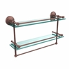 Allied Brass MC-2TB/22-GAL-SBR 22 Inch Gallery Double Glass Shelf with Towel Bar, Satin Brass