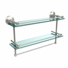 Allied Brass MC-2TB/22-GAL-SN 22 Inch Gallery Double Glass Shelf with Towel Bar, Satin Nicke