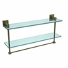 Allied Brass MT-2-22TB-ABR Montero Collection 22 Inch Two Tiered Glass Shelf with Integrated Towel Bar, Antique Brass