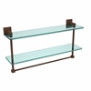 Allied Brass MT-2-22TB-ABZ Montero Collection 22 Inch Two Tiered Glass Shelf with Integrated Towel Bar, Antique Bronze