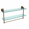 Allied Brass MT-2-22TB-BBR Montero Collection 22 Inch Two Tiered Glass Shelf with Integrated Towel Bar, Brushed Bronze
