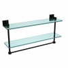 Allied Brass MT-2-22TB-BKM Montero Collection 22 Inch Two Tiered Glass Shelf with Integrated Towel Bar, Matte Black