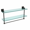 Allied Brass MT-2-22TB-ORB Montero Collection 22 Inch Two Tiered Glass Shelf with Integrated Towel Bar, Oil Rubbed Bronze